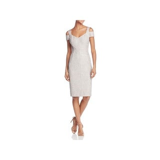 Eliza J Womens Cocktail Dress Cold Shoulder Knee-Length