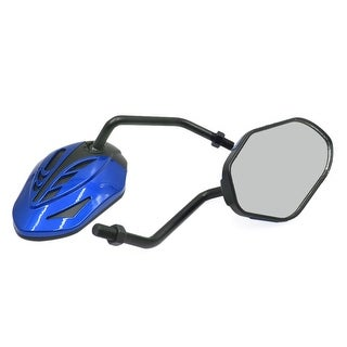 Pair Blue Black 10mm Thread Dia Adjustable Rearview Side Mirror For Motorcycle
