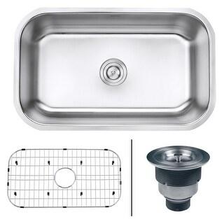 "Ruvati RVM4250  Parmi 30"" Undermount Single Basin 16 Gauge Stainless Steel Kitchen Sink with Basin Rack and Basket Strainer"