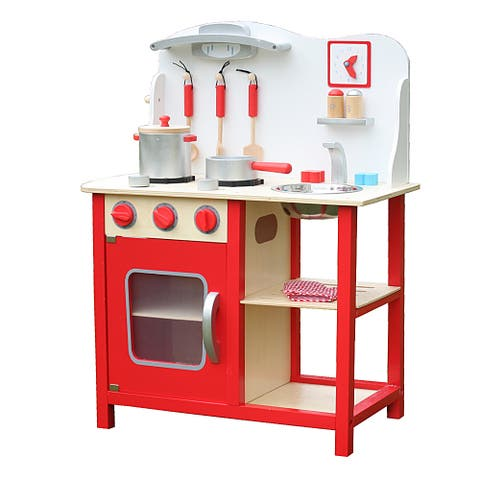 Wood Kitchen Toy Kids Cooking Pretend Play Set with Kitchenware and Clock Red