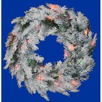 "36"" Pre-Lit Flocked Alaskan Artificial Christmas Wreath - Multi Dura Lights"
