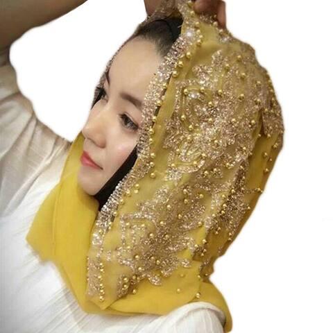 Fashion Women Bead Decor Islam Muslim Ramadan Hijab Wrap Shawl Scarf Accessory