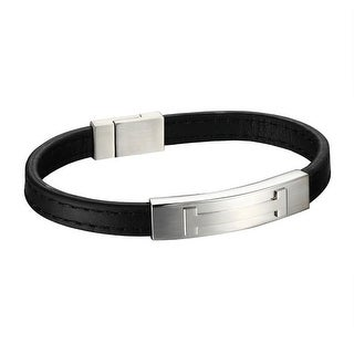 H Design Mens Bracelet ID Style Stainless Steel Black Leather Wristband 8.0 Inch