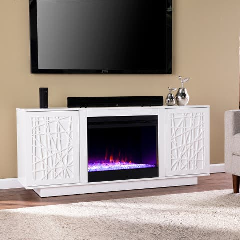 Strick & Bolton Delauro Color Changing Fireplace w/ Media Storage