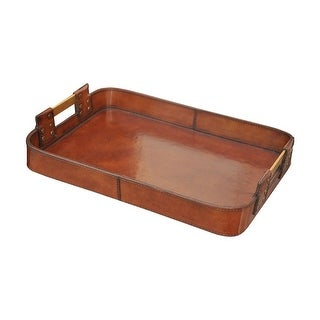 """GuildMaster 8819-020  16"""" Wide Leather Tray - Brown"""