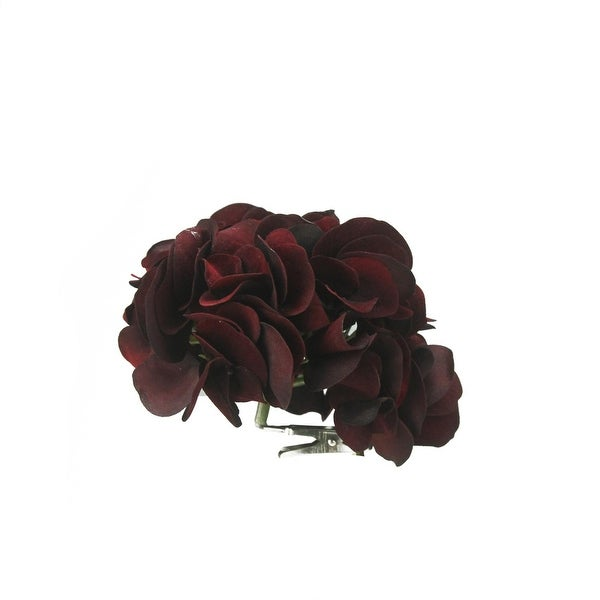 "6"" Rich Elegance Artficial Burgundy Hydrangea Flower Clip-On Christmas Ornament - RED"