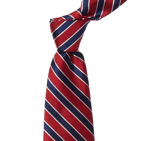 Brooks Brothers Red & Navy Twill Stripe Silk Tie - os