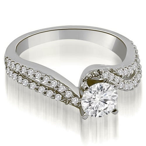 0.83 cttw. 14K White Gold Twisted Split Shank Round Cut Diamond Engagement Ring