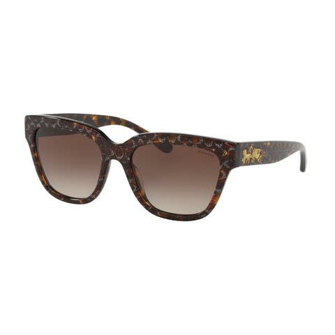 Coach HC8262 554713 55 Tortoise Glitter Sig C Facing Woman Square Sunglasses
