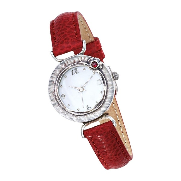 Women's Sterling Silver And Crimson Leather Watch
