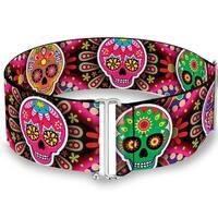 Six Sugar Skulls Multi Color Cinch Waist Belt   ONE SIZE