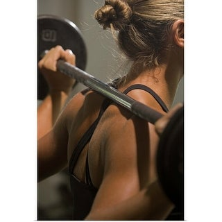 """""""Young woman exercising with barbell"""" Poster Print"""