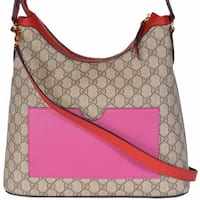 Gucci Women's 414930 GG Supreme Guccissima Convertible Hobo Purse Bag - ebony beige