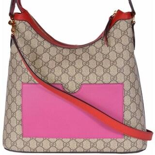Gucci Women's 414930 GG Supreme Guccissima Convertible Hobo Purse Bag - ebony beige