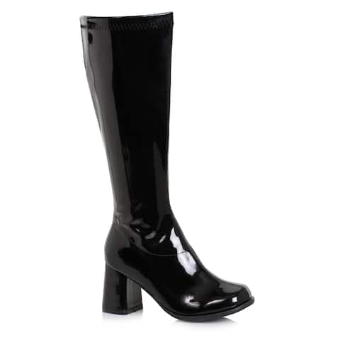 """Womens 3"""" Wide Width Black Gogo Boots with Zipper"""