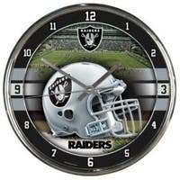 Oakland Raiders Round Chrome Wall Clock