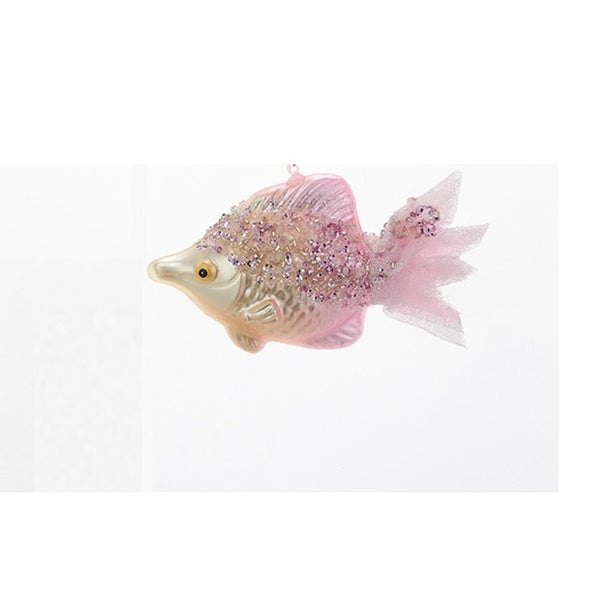 "5.5"" Under the Sea Pink Beaded Glass Fish with Mesh Tail Christmas Ornament"