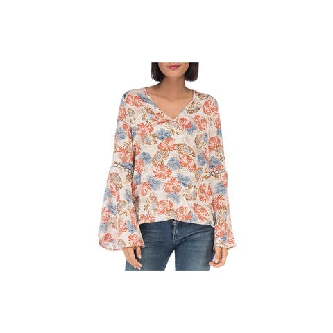 Bobeau Womens Blouse Lattice Floral