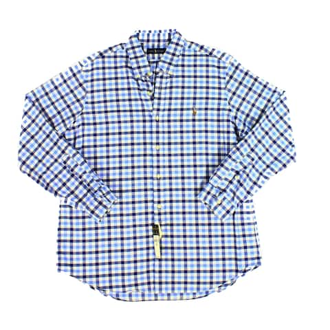 f324874a3 Ralph Lauren Blue Mens Size XL Plaid Print Button Down Shirt
