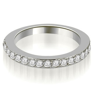 0 60 CT Round Prong Set Diamond Stackable Wedding Ring In 14KT Gold White H I