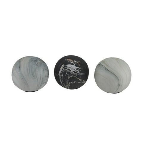 Shop 3 Piece Swirling Marble Finish Ceramic Decor Ball Set 4 Inch