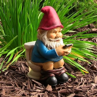 Sunnydaze Cody the Gnome Reading Phone on the Throne Garden Accent - 9-Inch