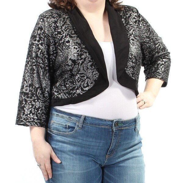 cbcef4d0985 Shop R M RICHARDS Womens Black Metallic 3 4 Sleeve Open Cardigan Evening  Top Plus Size  20W - Free Shipping On Orders Over  45 - Overstock.com -  22430125