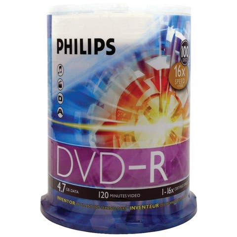 Philips DM4S6B00F/17 Philips 16x DVD-R Media - 4.7GB - 100 Pack