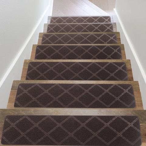 "Indoor Non-Slip Carpet Stair Treads 8""x 30"" Geometric Pattern - Set of 7"