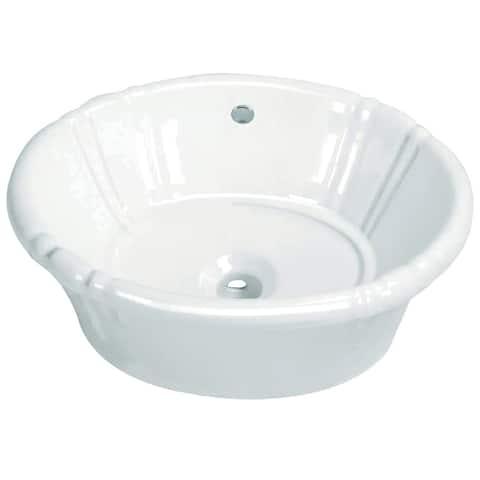 "Kingston Brass EV18157 Vintage 17-11/16"" Semi-Recessed Bathroom Sink - White"