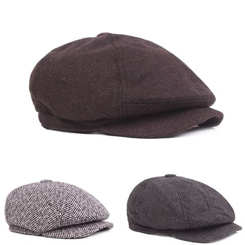 Fashion Classic Newsboy Beret Hat Men's Knitted Outdoor Casual Octagonal Cap