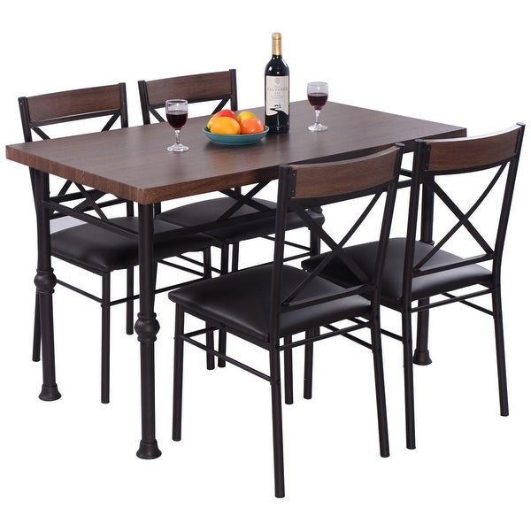 5 Piece Dining Set Wood Metal Frame Table And 4 Chairs: Shop Costway 5 Piece Dining Set Table And 4 Chairs Wood