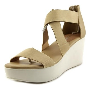 Charles By Charles David Joey Women Open Toe Canvas Nude Wedge Sandal