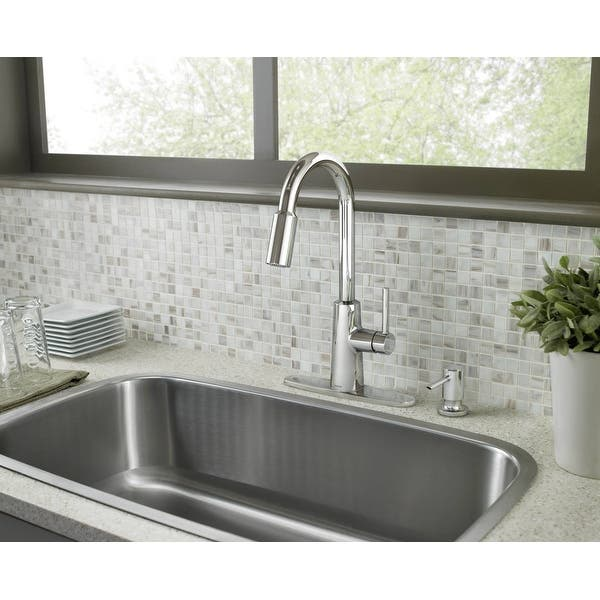 Shop Moen 87066 Pullout Spray High-Arc Kitchen Faucet with ...
