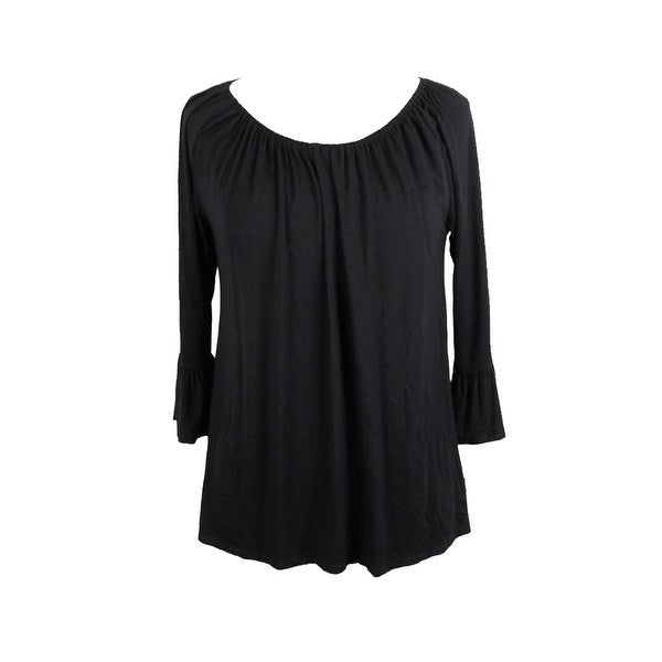 85ff25d3f03b66 Shop Inc International Concepts Deep Black Bell-Sleeve Peasant Top M ...