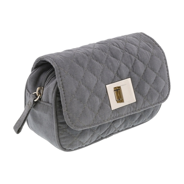 Scheilan Grey Suede Quilted Boxy Crossbody Bag - 6.5-4-2