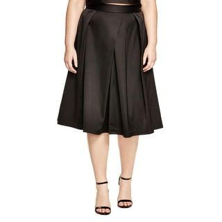 City Chic Womens Plus Flare Skirt Satin Pleated
