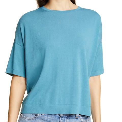 Eileen Fisher Women's Top Blouse Blue Size Medium M Knit Tencel Blend