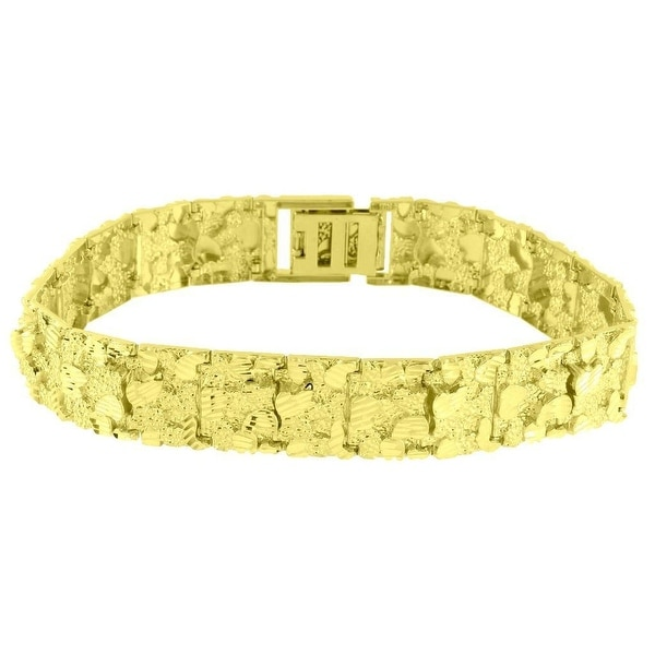 Nugget Design Mens Bracelet 10k Real Yellow Gold Mens Custom 16mm Gift 9.0 Inch