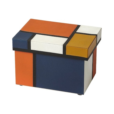 Offex Mosaic Leather Rectangular Storage Box - Assorted