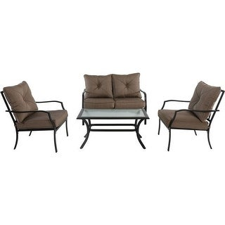 4 piece Palm Bay Steel Seating Set Loveseat 2 Side Chairs Coffee