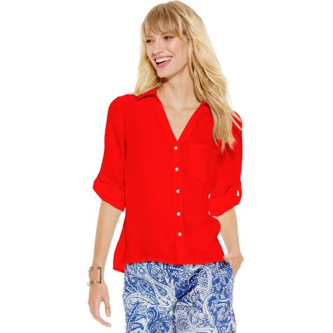 INC International Concepts Women's Rhinestone Button Linen Top (Red, 0)