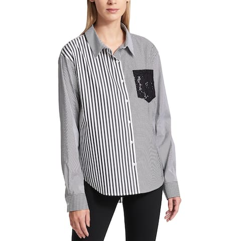 DNKY Womens Mixed-Media Shirt Large Grey & White Long Sleeves Lacy Patch Pocket