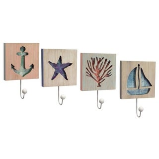 """Pack of 8 Nautical Inspired Beach and Sea Life Assorted Wall Hooks 10.5"""""""
