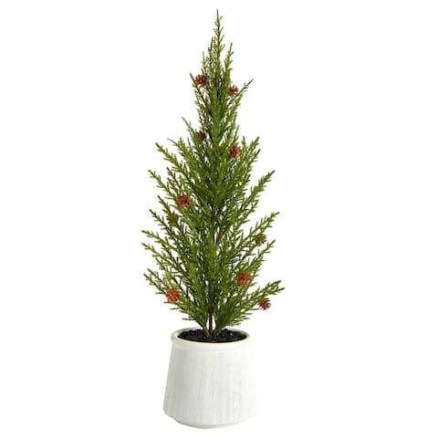 "20'' Cedar Pine ""Natural Look"" Artificial Tree with Mini Pine Cones in Decorative Planter"