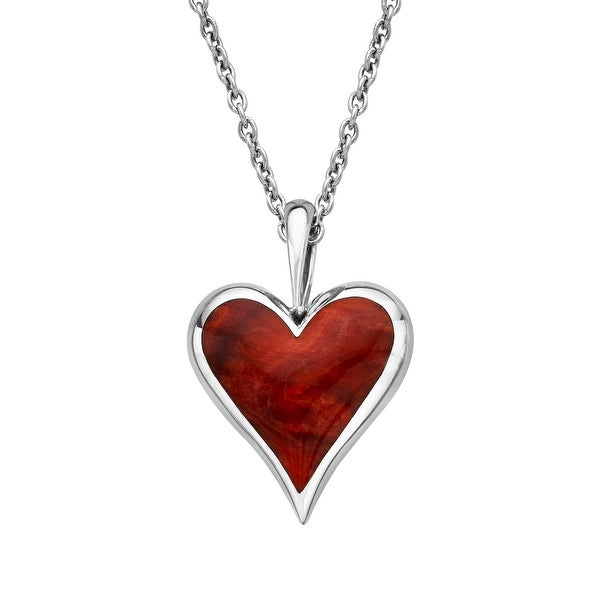 Kabana Red Spiny Oyster Shell Heart Pendant in Sterling Silver - White