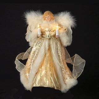 """10"""" Lighted Fluffy Winged White and Gold Angel Christmas Tree Topper - Clear Lights"""