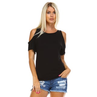 Isaac Liev Women's Open Cutout Cold Shoulder Short Sleeve Top (More options available)