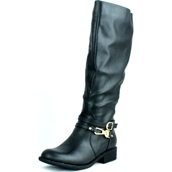 Dbdk Womens Chery-4 Simple Side Zipper Almond Toe Combact Riding Knee High Boot
