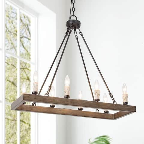 "Farmhouse 8-light Wood Linear Kitchen Chandelier - L29""x W11""x H 26.5"""